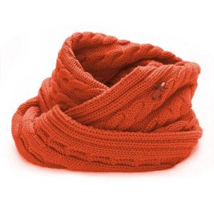 Loop Schal mit Zopf, Merinowolle extrafein, orange