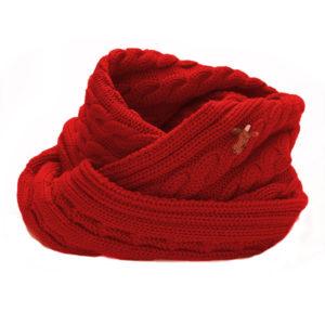 Loop Strickschal mit Zopf, Serie Indira, Merinowolle, rot