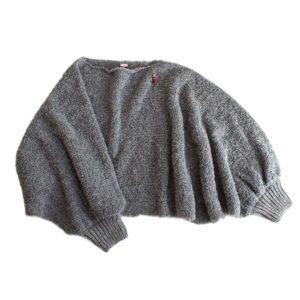 Fashion Poncho, Biowolle, grau