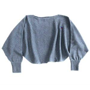 Anna Alpaka Poncho Schal, Bleu