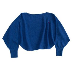 Alpaka Poncho Pullover Schal von Meinfrollein in Royal Blau, 100% Naturgarn
