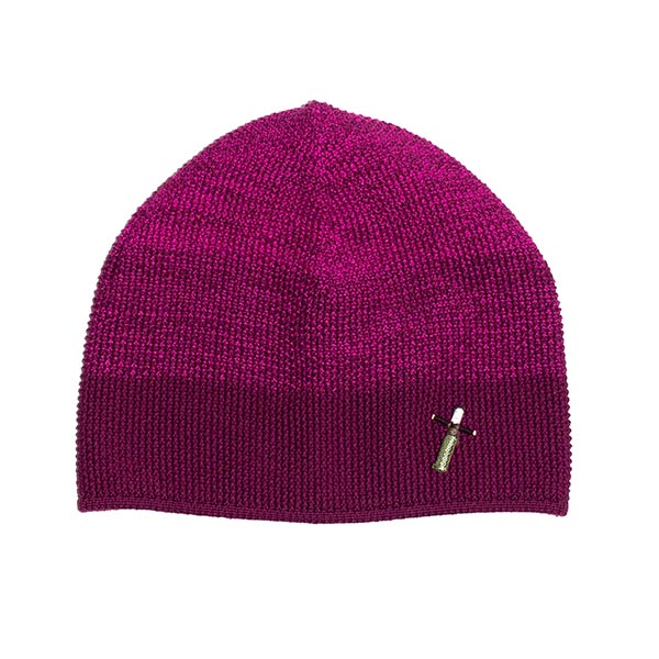 Damen Strickmütze DORO, 100% Merino, Pink-Lila