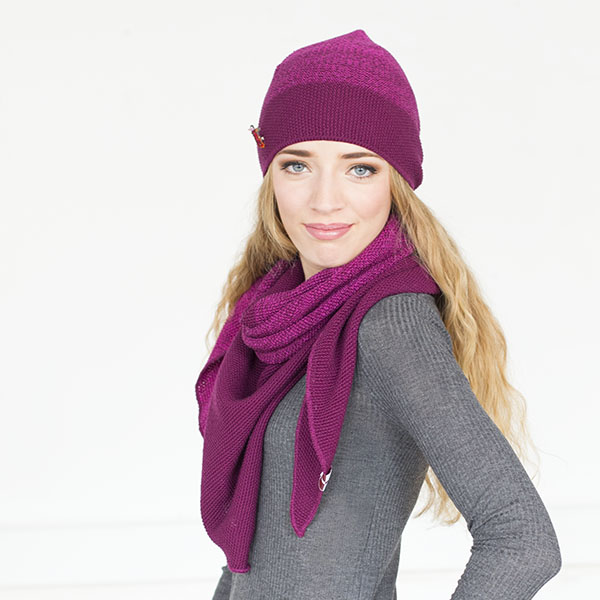 Wintermütze Doro, Merinowolle Lila-Pink