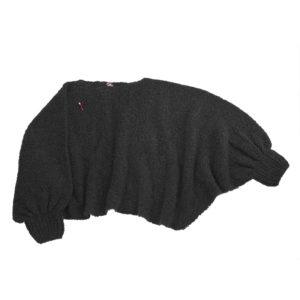 Poncho Schal Bette, Biowolle, schwarz
