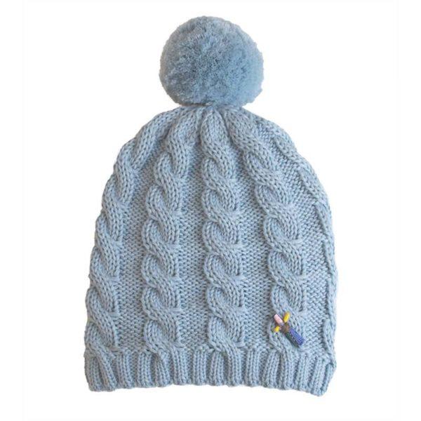Mütze mit Bommel, Indira, Wolle, Bleu