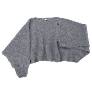 Fashion Poncho Schal, organic wool, Grau