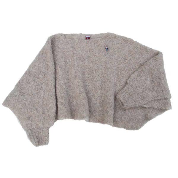 Fashion Poncho Bette, Organic wool, Puder Beige von Meinfrollein
