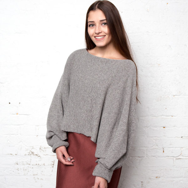 Two-in-one Poncho /Schal, Alpaka / Yak, Grau