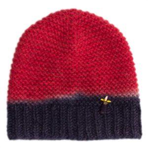 Statement Mütze Heidi, Biowolle, Rot/Blau