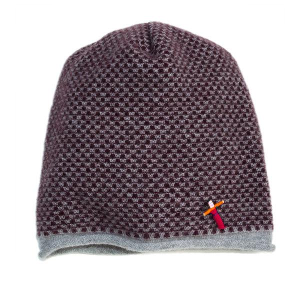 Damen Mütze aus Kaschmir, Grau/Pflaume von Meinfrollein