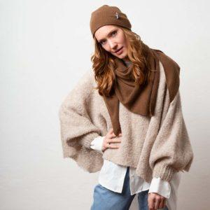 Fashion Poncho Bette, Organic wool, Puder Beige von Meinfrollein, Puder Beige