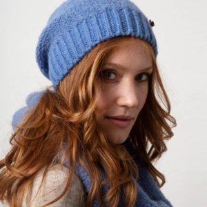 Beanie Mütze Zarah aus Biowolle, von Meinfrollein, Blau