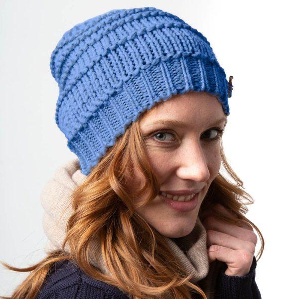 Damen Wollmütze Greta Asus Biowolle, Made in Germany von Meinfrollein, Bluejeans Blau