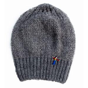 Beanie Mütze , Biowolle, Grau