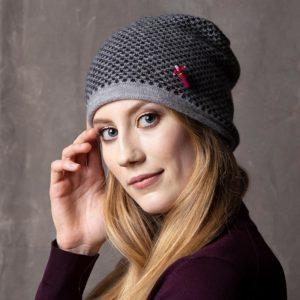 Damen Kaschmir Mütze in Grau/ Schwarz von Meinfrollein