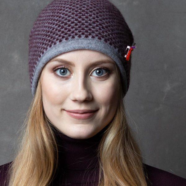 Damen Kaschmir Mütze in Grau /Pflaume von Meinfrollein