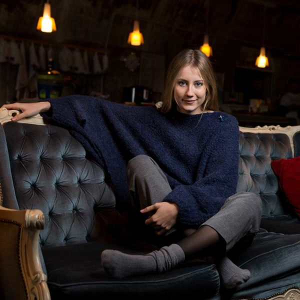 Fashionponcho Bette, organic wool, Navy Blau von meinfrollein