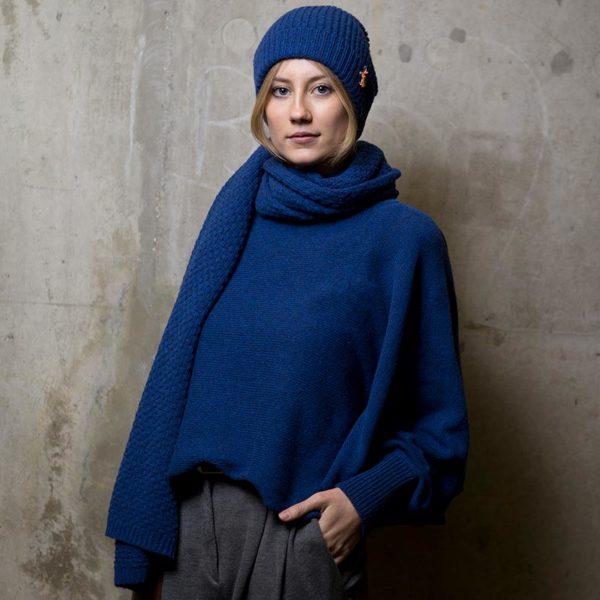 Alpaka Wollmütze, Royal Blau von Meinfrollein