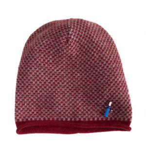 Meinfrollein Damen Kaschmirmütze in Rot/Grau