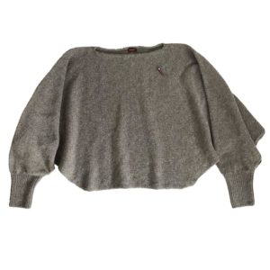 Two-in-one Poncho Pullover Anna, Taupe Beige von Meinfrollein,
