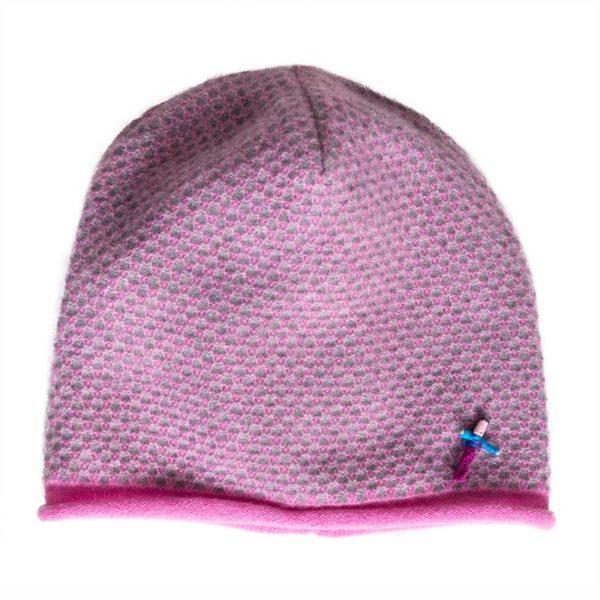 d11e348a4 Ladies cashmere beanie JACKY, 100% cashmere, Pink/ Grey