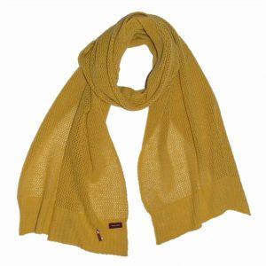 Feiner Kaschmir schal mit Lochmuster, 100% Kaschmir, 100% Made in Germany, Trendfarbe Gold Gelb