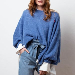 Poncho, Pulli, Schal aus Biowolle von Meinfrollein, Bluejeans Blau