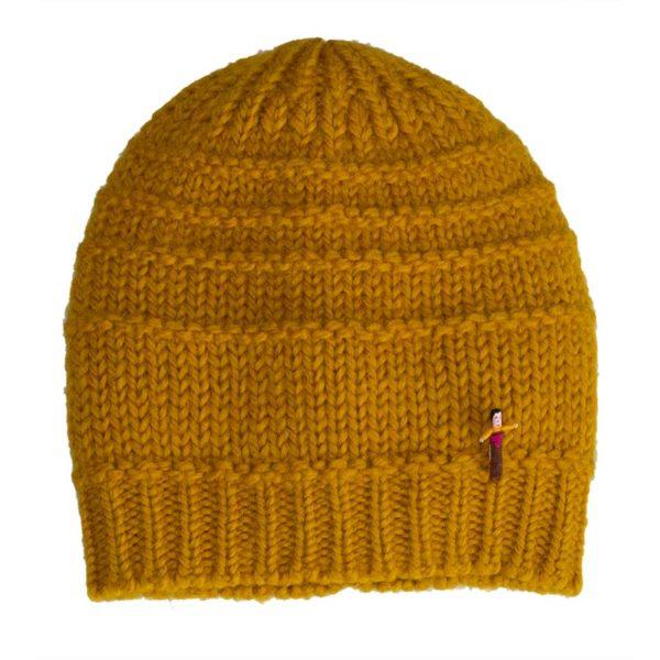Mütze aus Biowolle von Meinfrollein , Gold Gelb