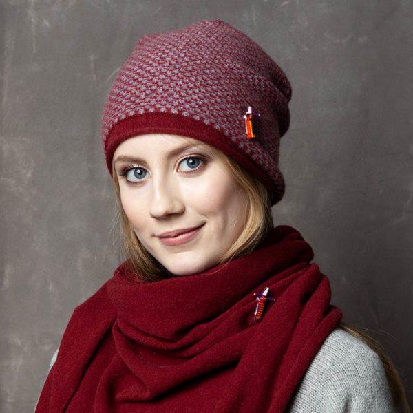 Damen Kaschmir Mütze in Rot / Grau von Meinfrollein