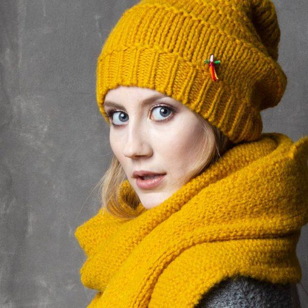 Mütze Schal Set aus Biowolle von Meinfrollein, Gold Gelb