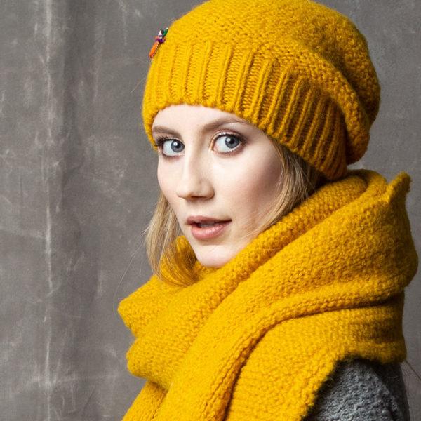 Bio Wollmütze aus Schurwolle von meinfrollein, Gold Gelb