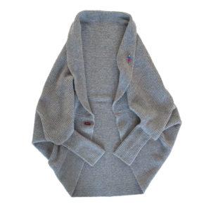 Cardigan Strickjacke aus Kaschmir , Seide, Alpaka. Made in Germany, von Meinfrollein, Grau