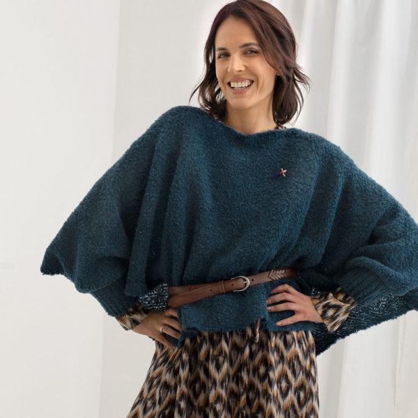 Fashion Pulliponcho Bette von meinfrollein, Petrol Blau Grün