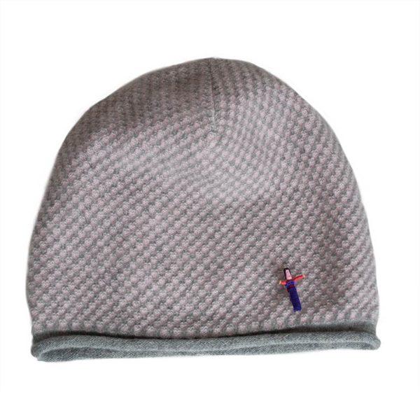 Kaschmir Damenmütze Jacky Grau /Rosa von Meinfrollein