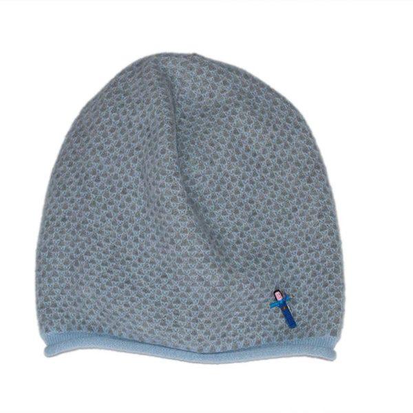 Damen Kaschmirmütze Jacky Hellblau /Greige, 100% Kaschmir von Meinfrollein