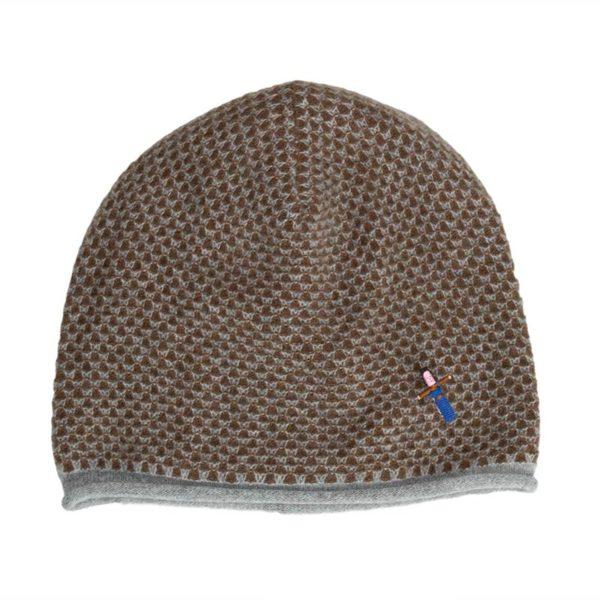 Damen Kaschmirmütze Jacky Grau/ Nougat, 100% Kaschmir von Meinfrollein