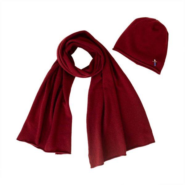 Mütze Schal Set aus 100 Prozent Kaschmir, Rot