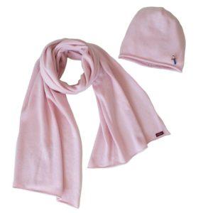 Mütze Schal Set aus 100 Prozent Kaschmir, Rose Rosa