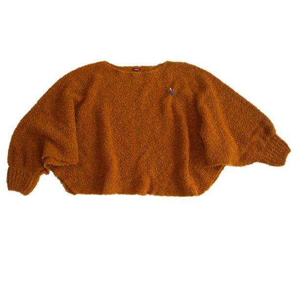 Strickponcho, Pulli, Schal aus Biowolle von Meinfrollein, Cognac Braun