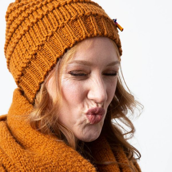 Damen Wollmütze GRETA aus Biowolle, Cognac Braun
