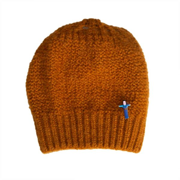 Beanie Mütze Zarah aus Biowolle von Meinfrollein, Cognac Braun