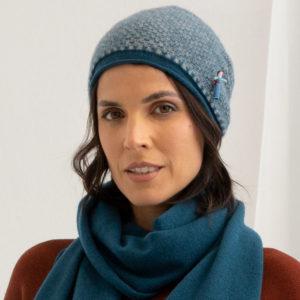 Wollmütze aus 100% Kaschmir, von Meinfrollein in Smaragd Petrol Blau