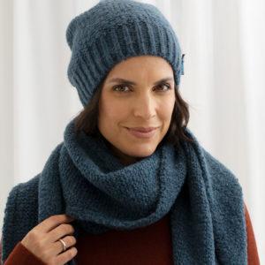 Damen Wollmütze Zarah aus Biogarn, von Meinfrollein, Smaragd Petrol